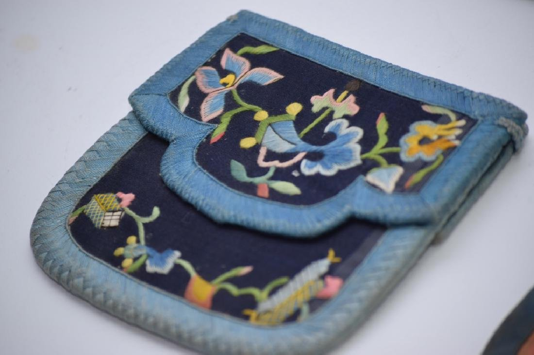 Group of Qing Chinese Embroidered Pouches - 5