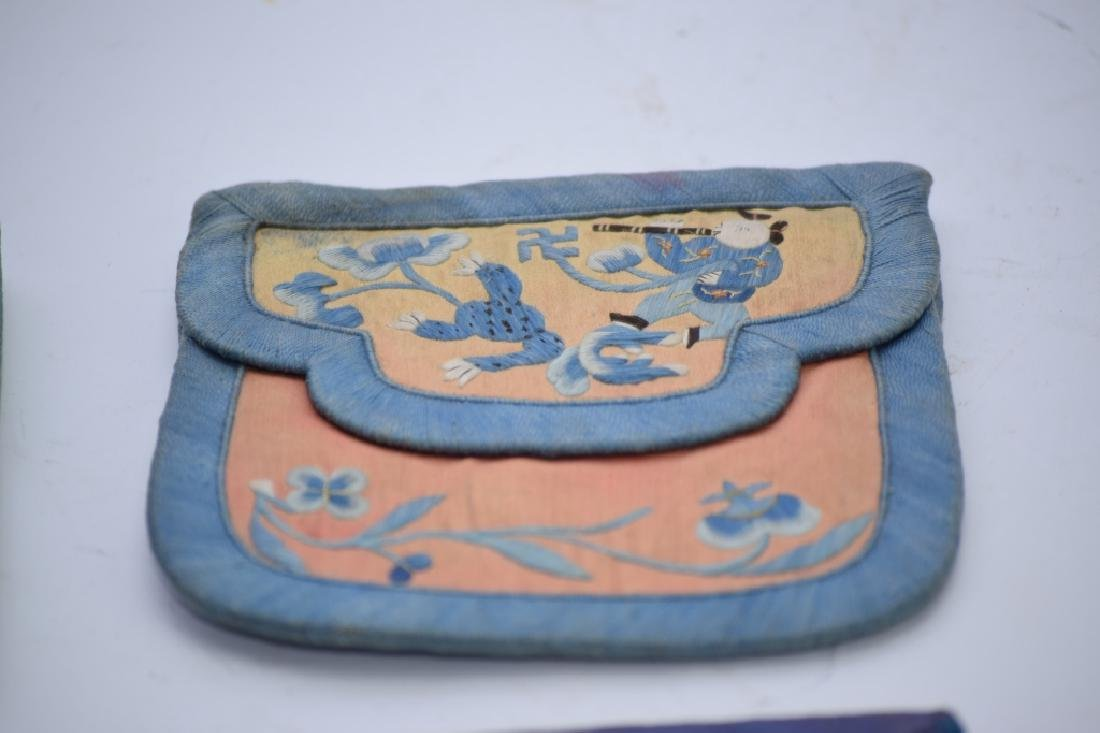 Group of Qing Chinese Embroidered Pouches - 3