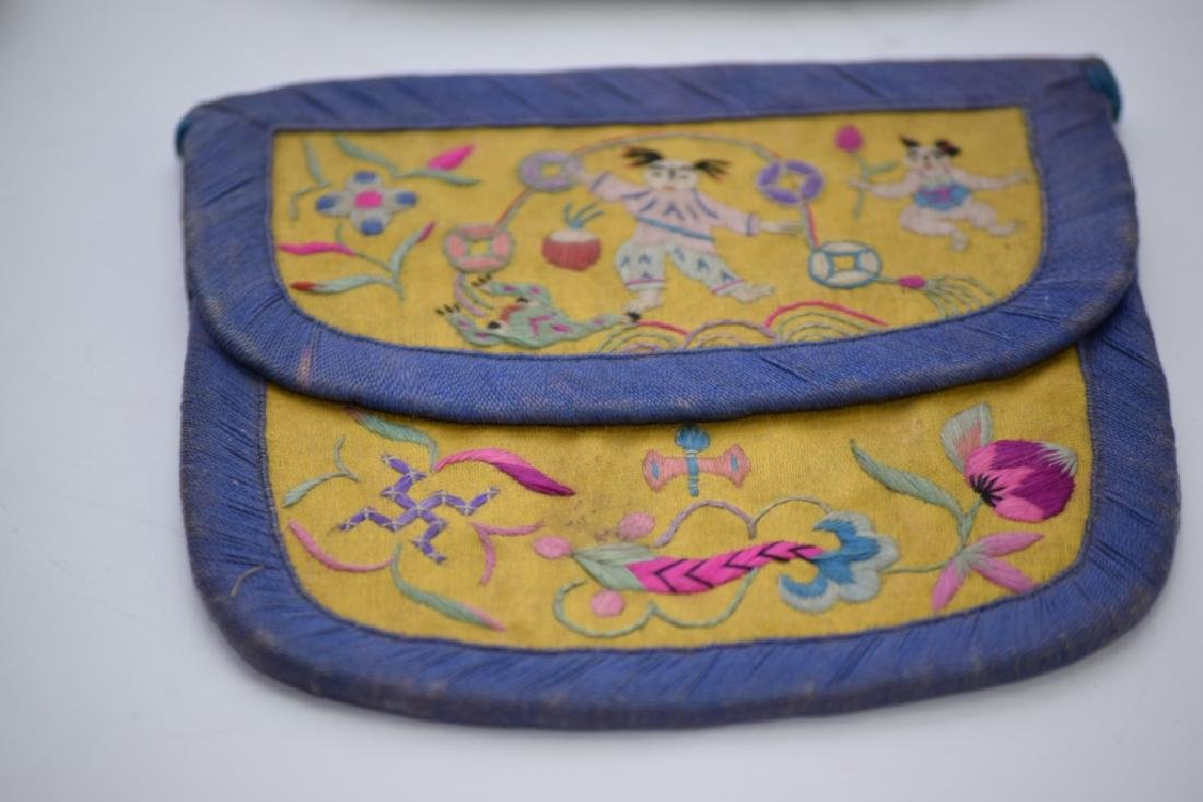 Group of Qing Chinese Embroidered Pouches - 4