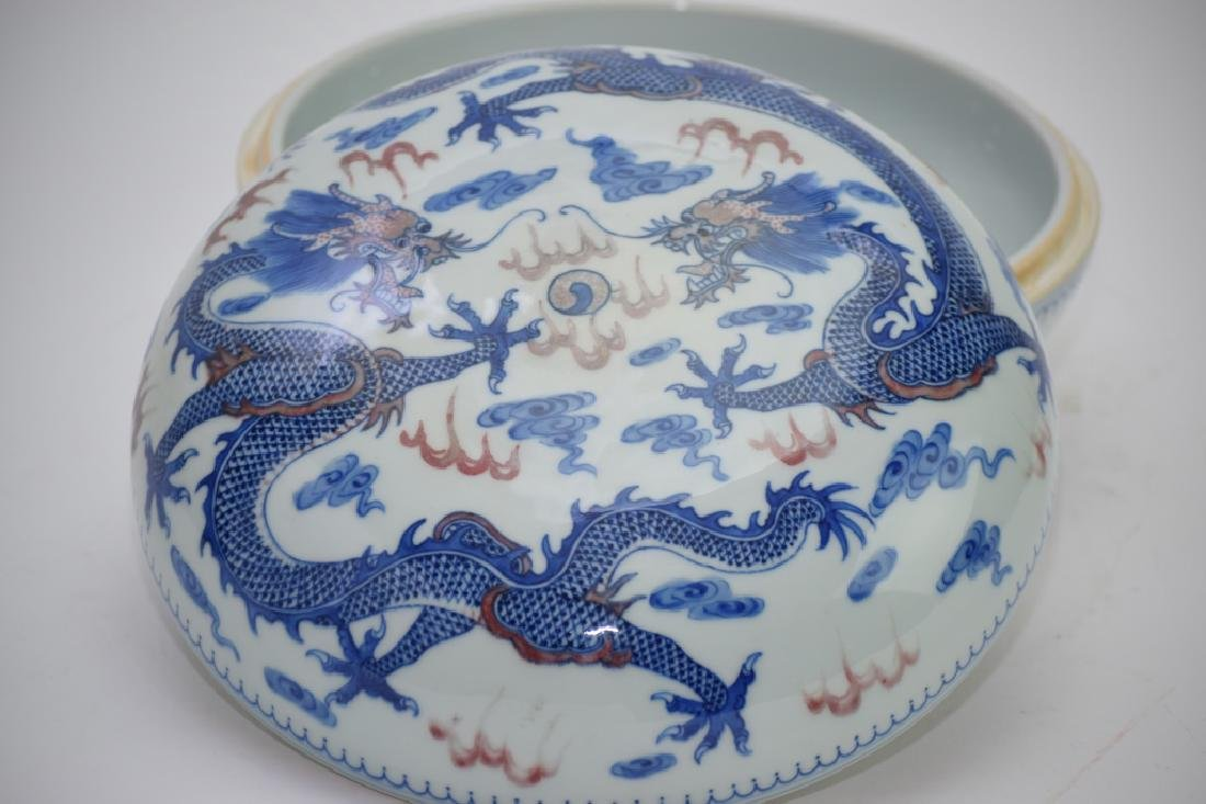 Qing Chinese Blue and White and Iron Red Box - 2