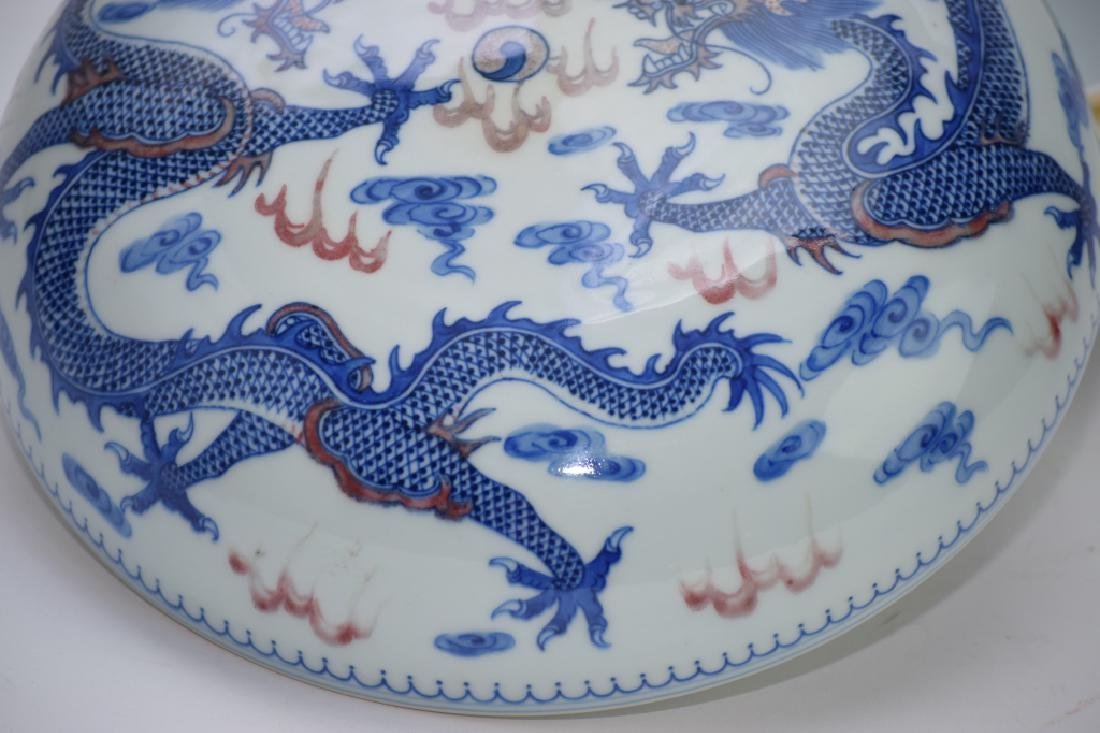 Qing Chinese Blue and White and Iron Red Box - 3