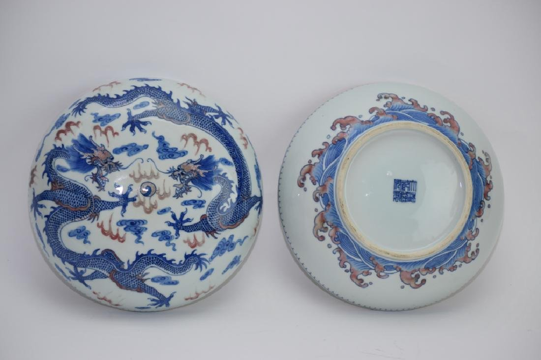 Qing Chinese Blue and White and Iron Red Box - 5