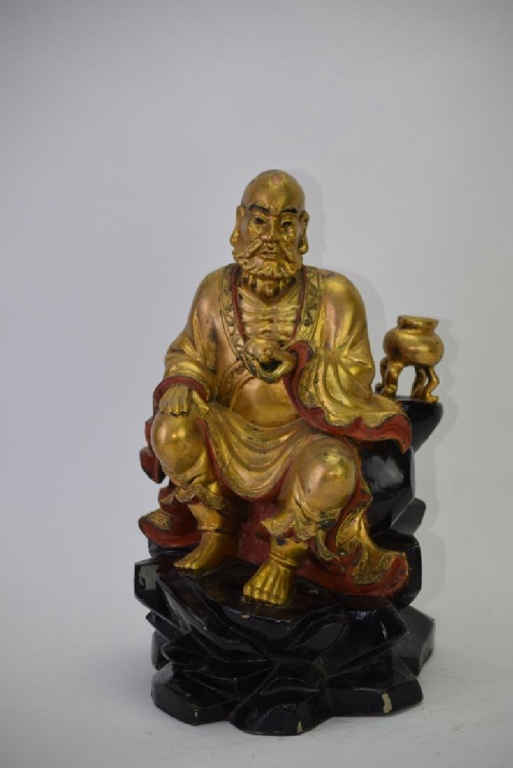 Chinese Gilt Wood Carved LuoHan