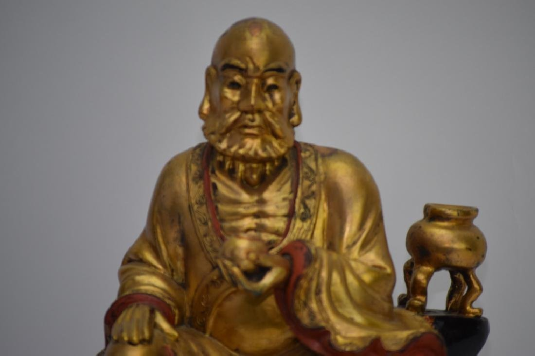 Chinese Gilt Wood Carved LuoHan - 2