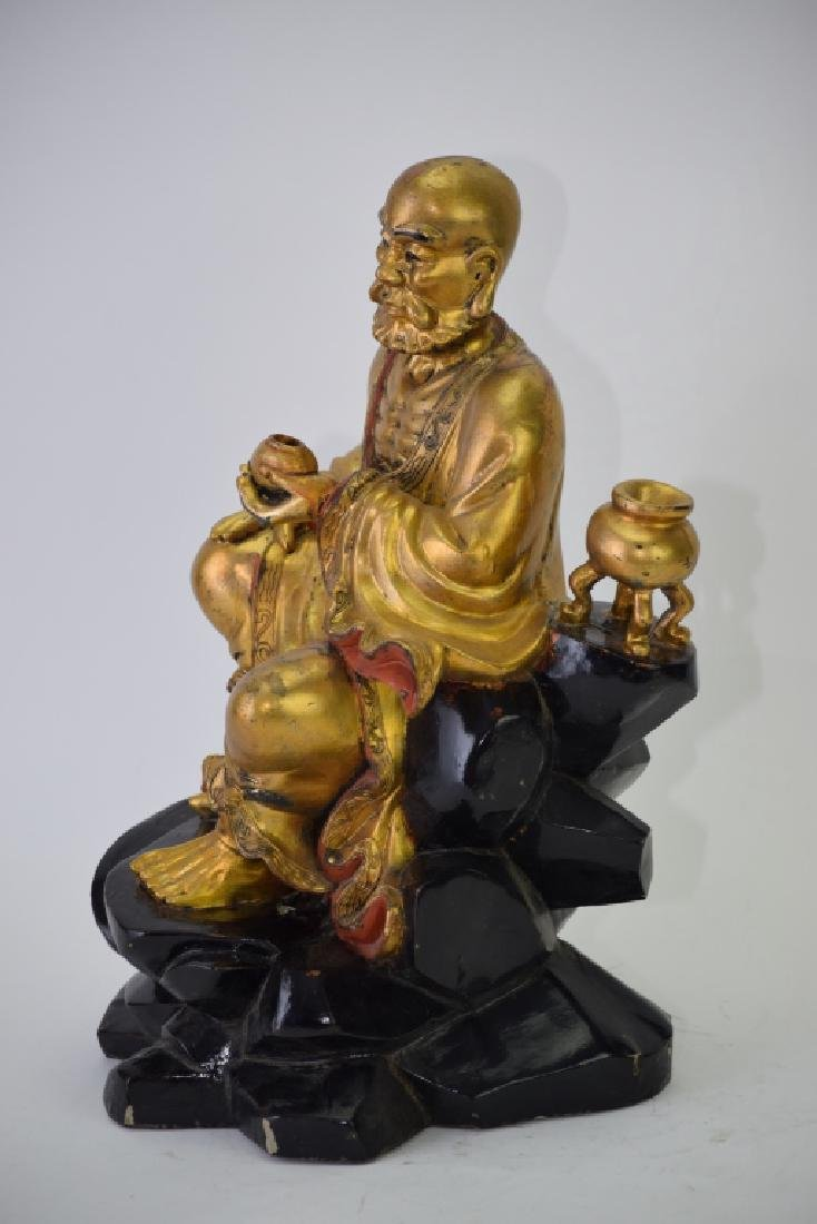 Chinese Gilt Wood Carved LuoHan - 4