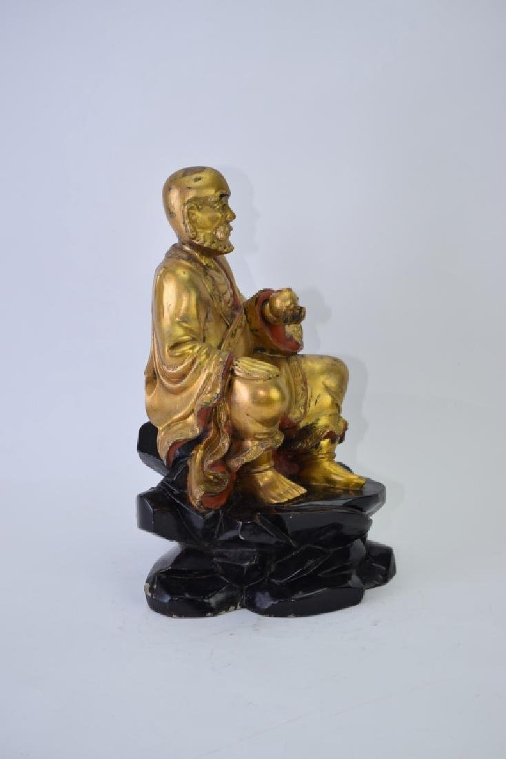 Chinese Gilt Wood Carved LuoHan - 5