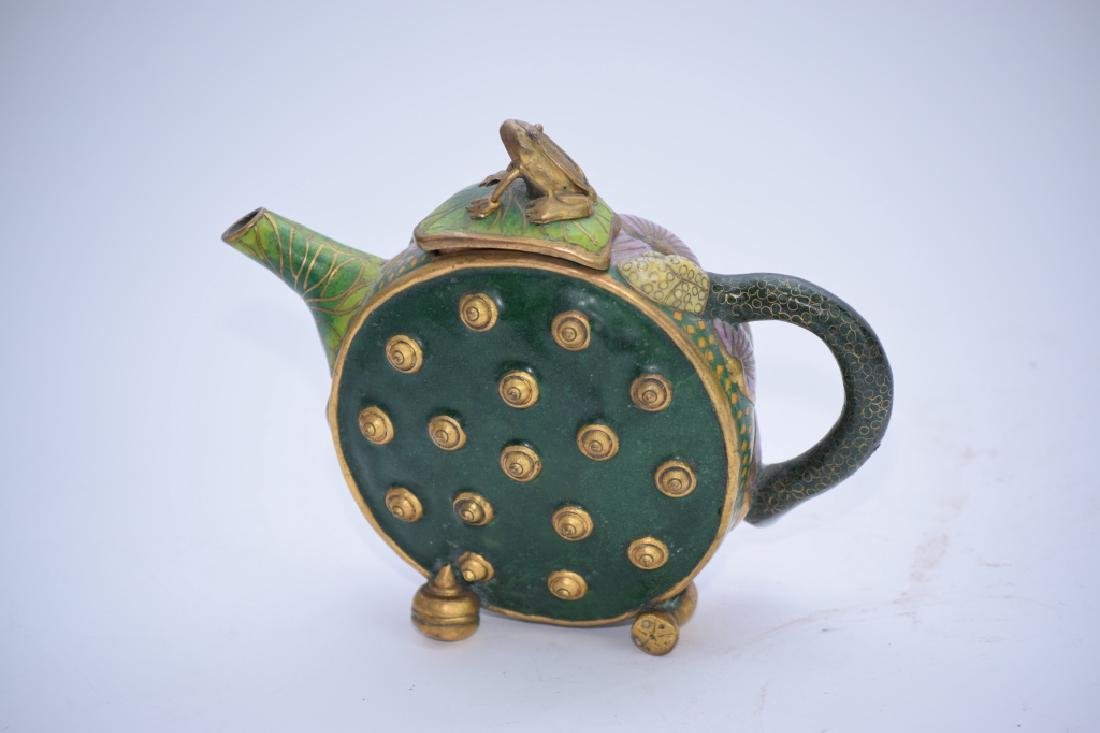 Chinese Cloisonne Water Lily Teapot