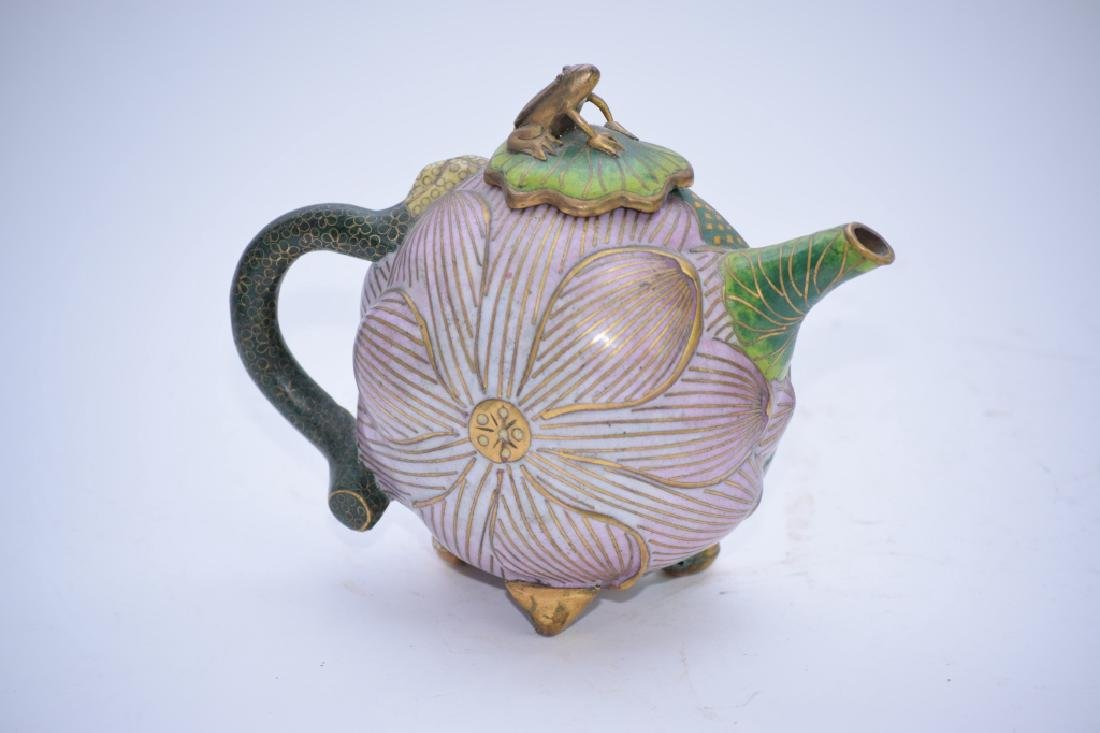 Chinese Cloisonne Water Lily Teapot - 2