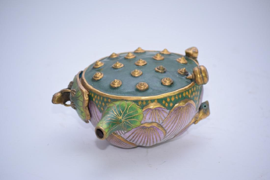 Chinese Cloisonne Water Lily Teapot - 4
