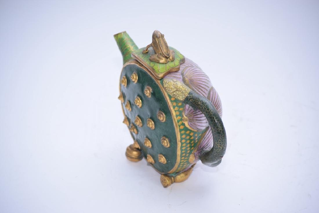 Chinese Cloisonne Water Lily Teapot - 5