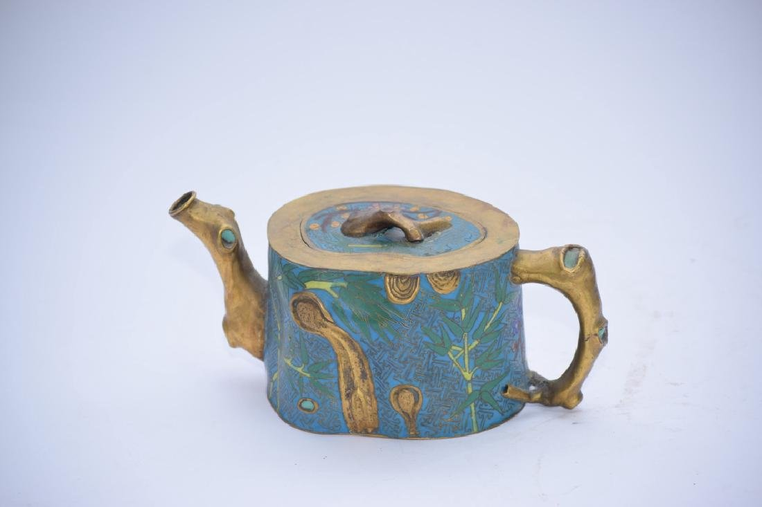 Chinese Cloisonne Plum Tree Stump Teapot