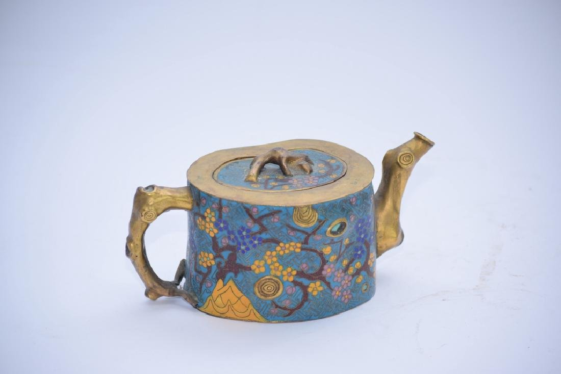 Chinese Cloisonne Plum Tree Stump Teapot - 2