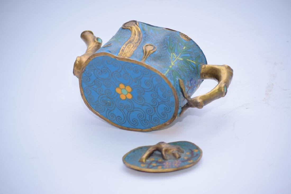 Chinese Cloisonne Plum Tree Stump Teapot - 3