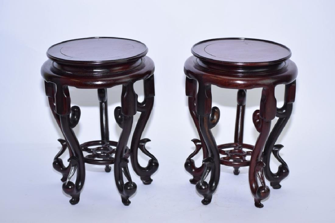 Pair of Chinese Wood Carved Flower Pot Stands