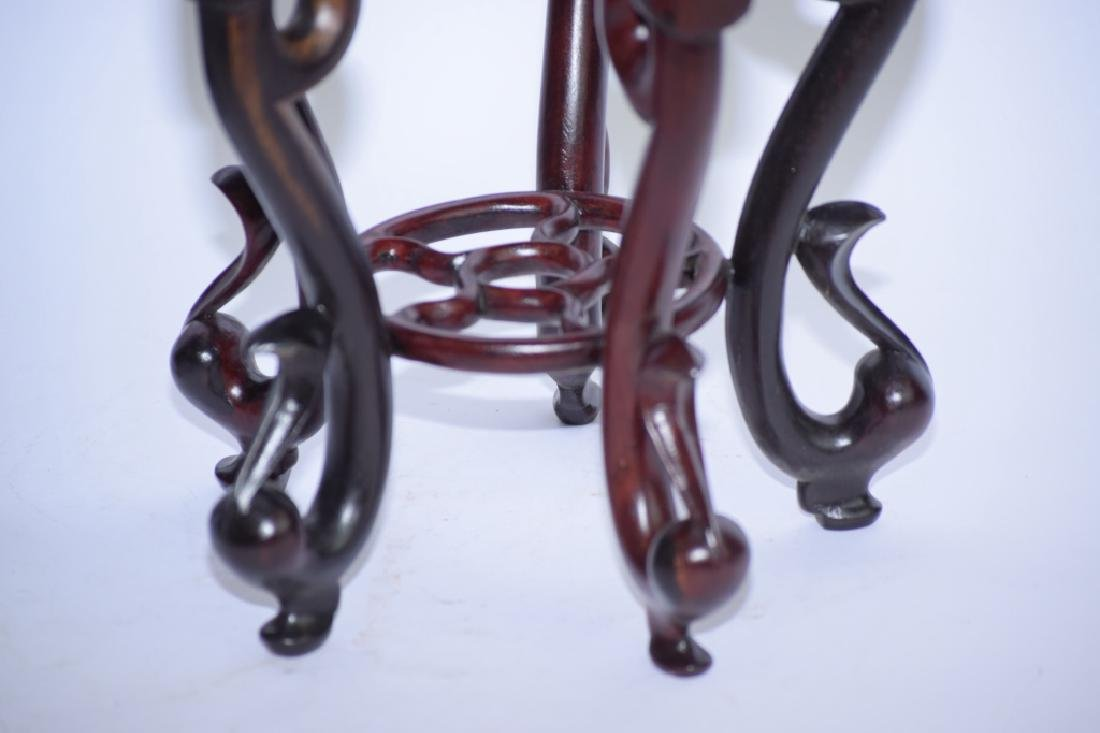Pair of Chinese Wood Carved Flower Pot Stands - 2