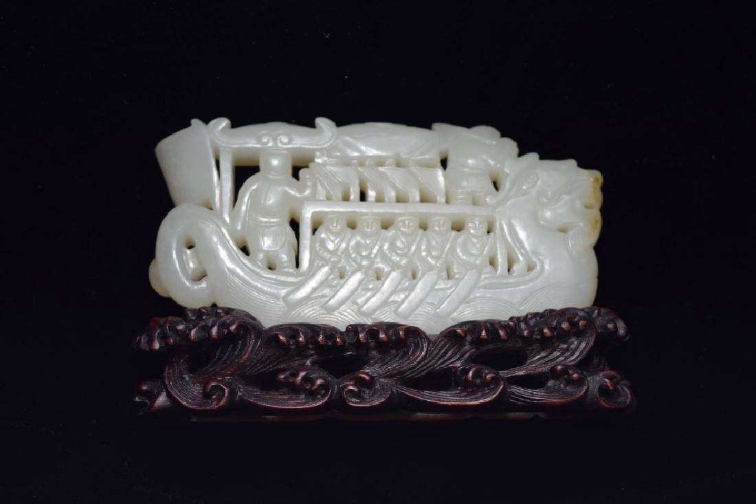 Qing Chinese White Jade Carved Dragon Boat - 2