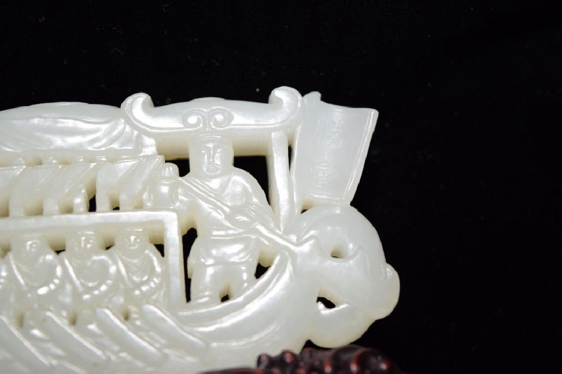 Qing Chinese White Jade Carved Dragon Boat - 4