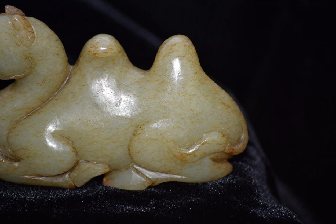 Qing Chinese Yellow Jade Carved Camel - 3