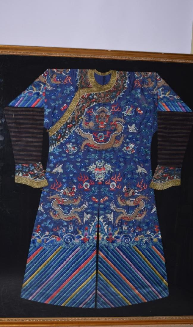Qing Chinese Embroidered Emperor's Robe in Frame