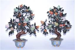 Pair of Large Chinese Jade Trees