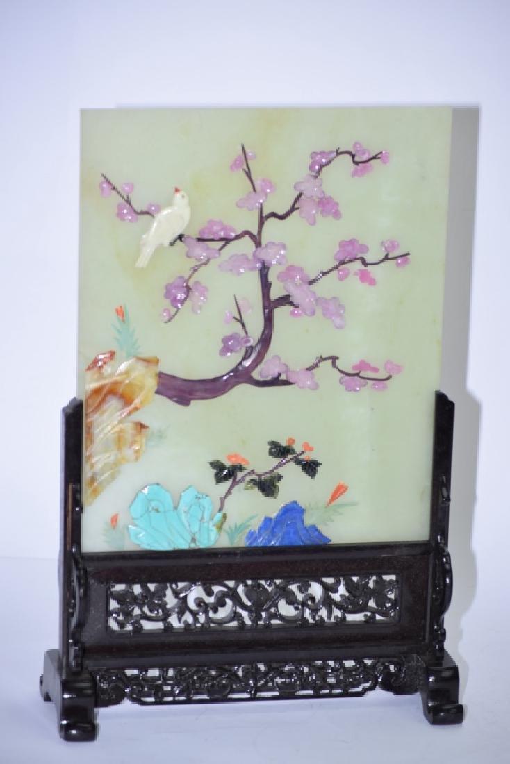Pair of Chinese Precious Stones Jade Table Screens - 2