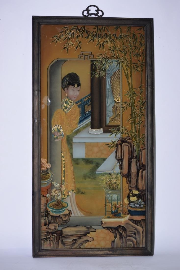 Chinese Reverse Glass Painting of Concubine
