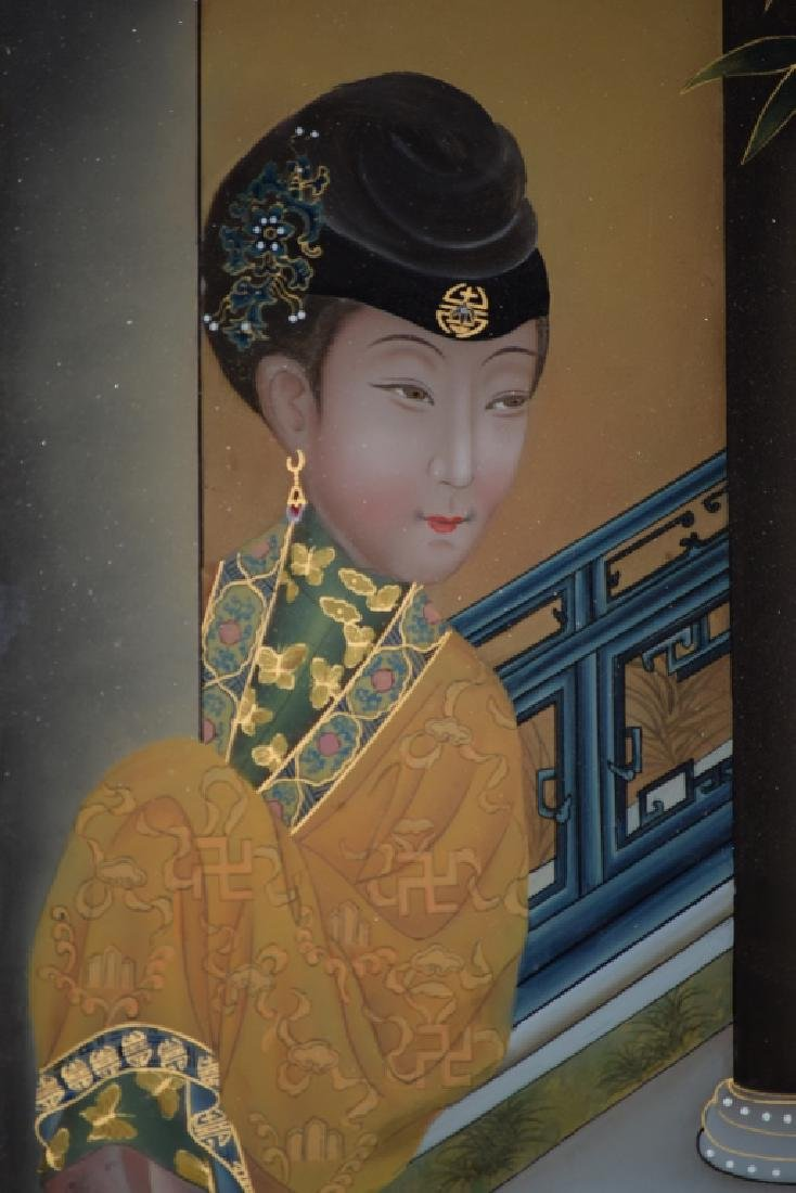 Chinese Reverse Glass Painting of Concubine - 6