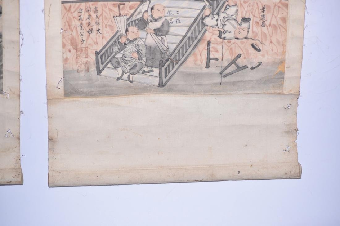 Two Qing Chinese Watercolor of Folk Customs - 8