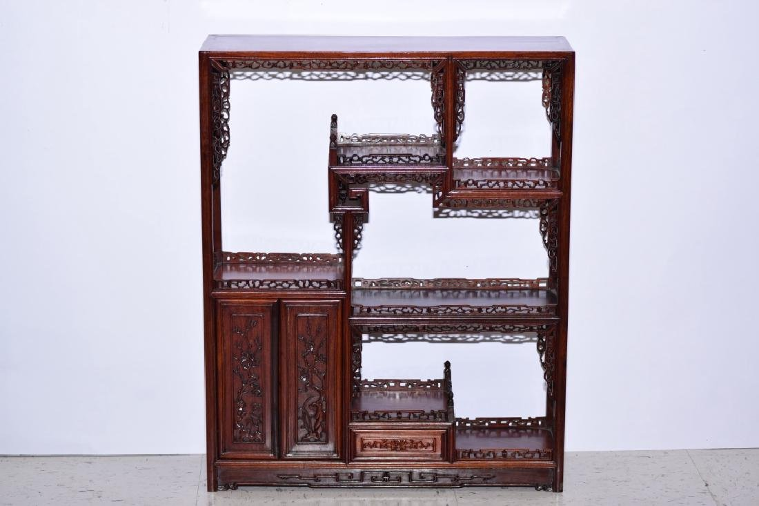Chinese Hardwood Carved Curio Stand