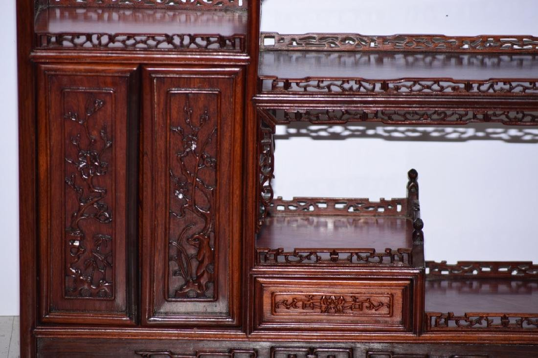Chinese Hardwood Carved Curio Stand - 3