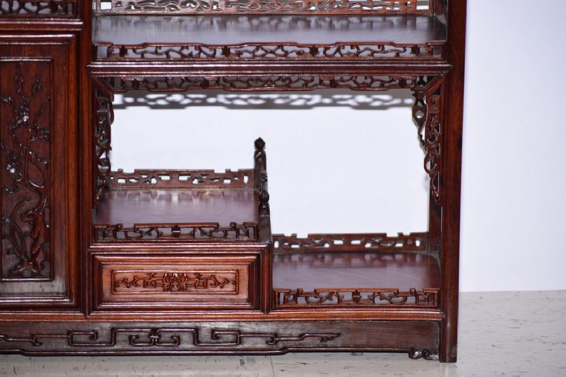 Chinese Hardwood Carved Curio Stand - 4
