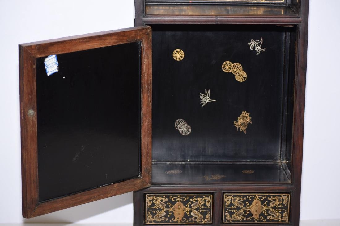 Republic Chinese Jade Inlaid Lacquered Hongmu Cabinet - 10