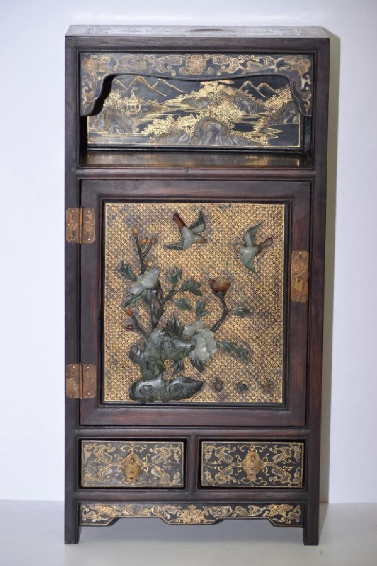 Republic Chinese Jade Inlaid Lacquered Hongmu Cabinet