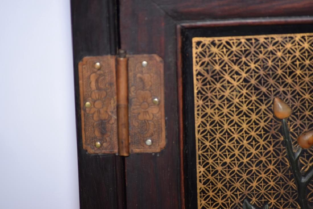 Republic Chinese Jade Inlaid Lacquered Hongmu Cabinet - 5