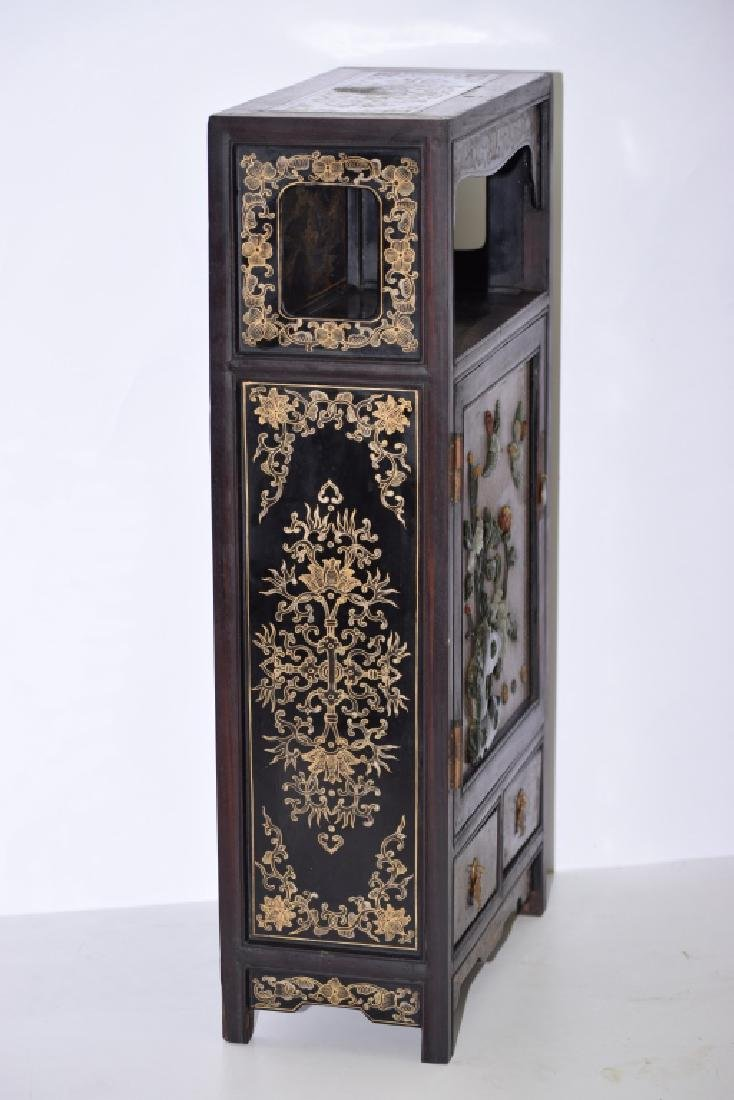 Republic Chinese Jade Inlaid Lacquered Hongmu Cabinet - 8