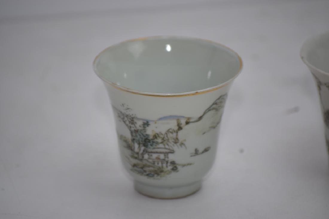 Three Qing Chinese Ink Glaze Cups - 2