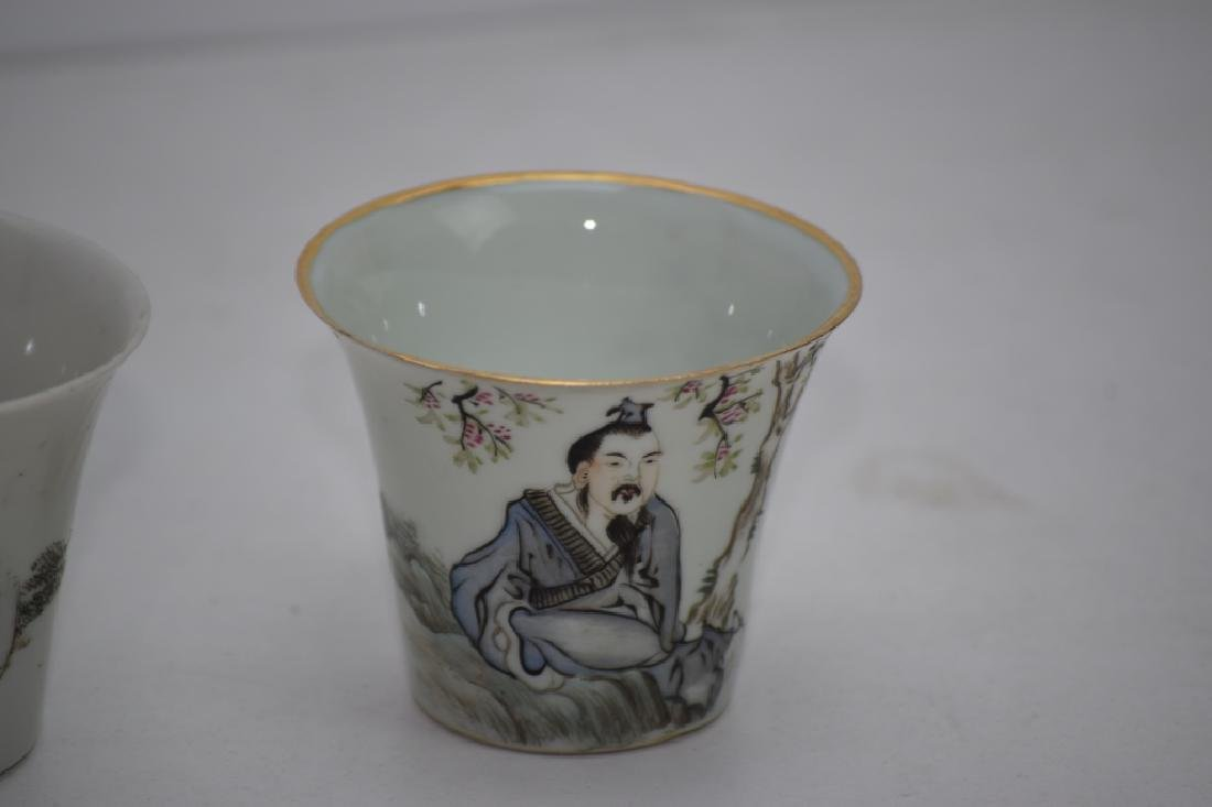 Three Qing Chinese Ink Glaze Cups - 4
