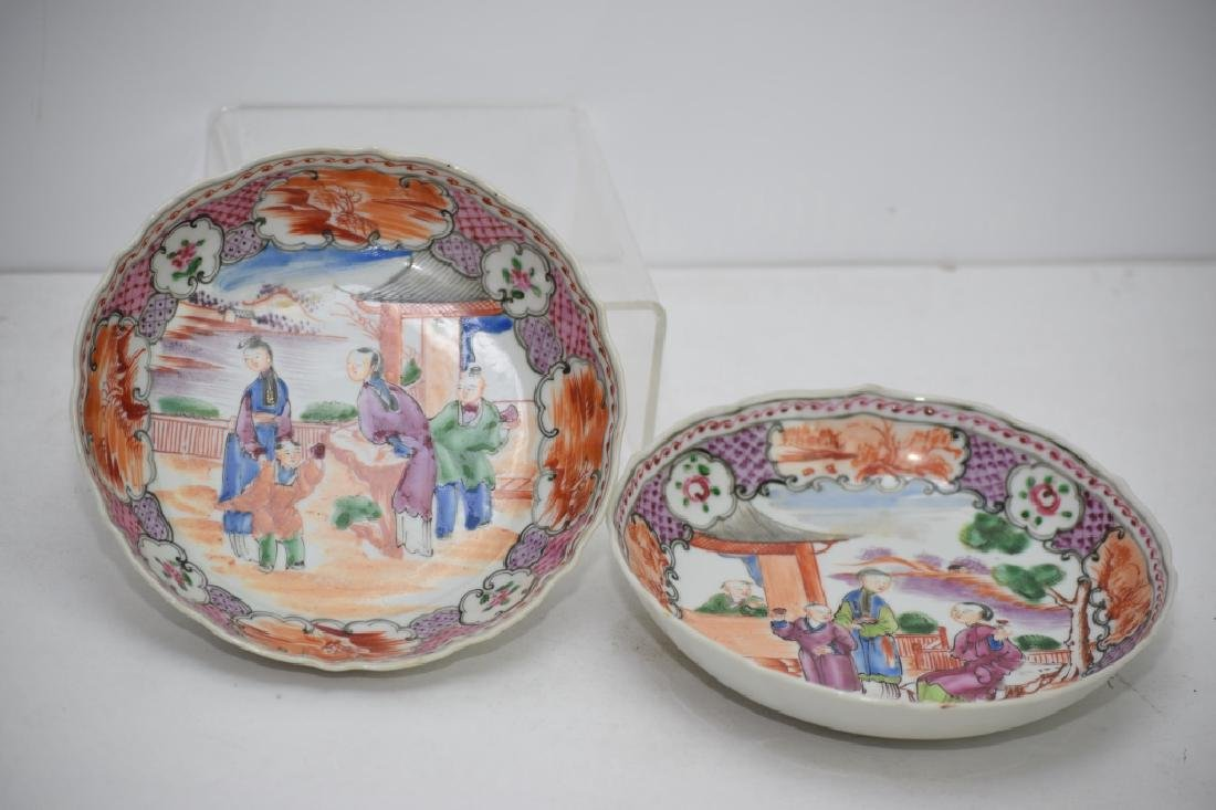 Pair of 18th C. Chinese Export Famille Rose Plates