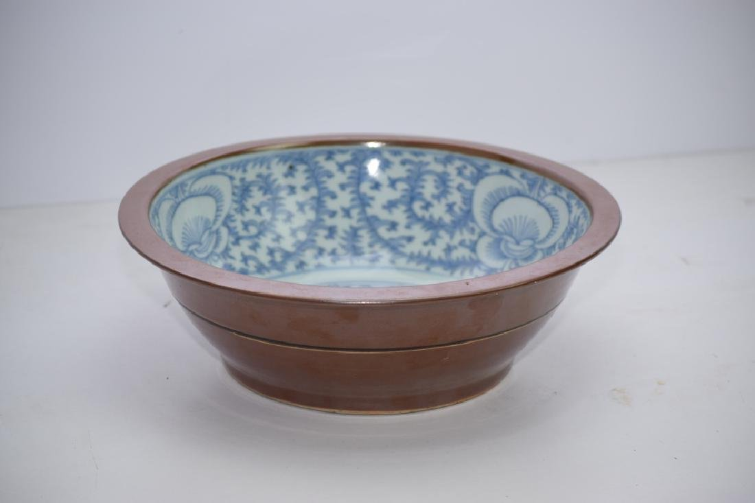 Qing Chinese Brown Glaze Blue and White Bowl - 6