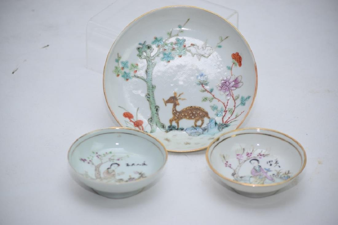 Three Qing Chinese Famille Rose Plates