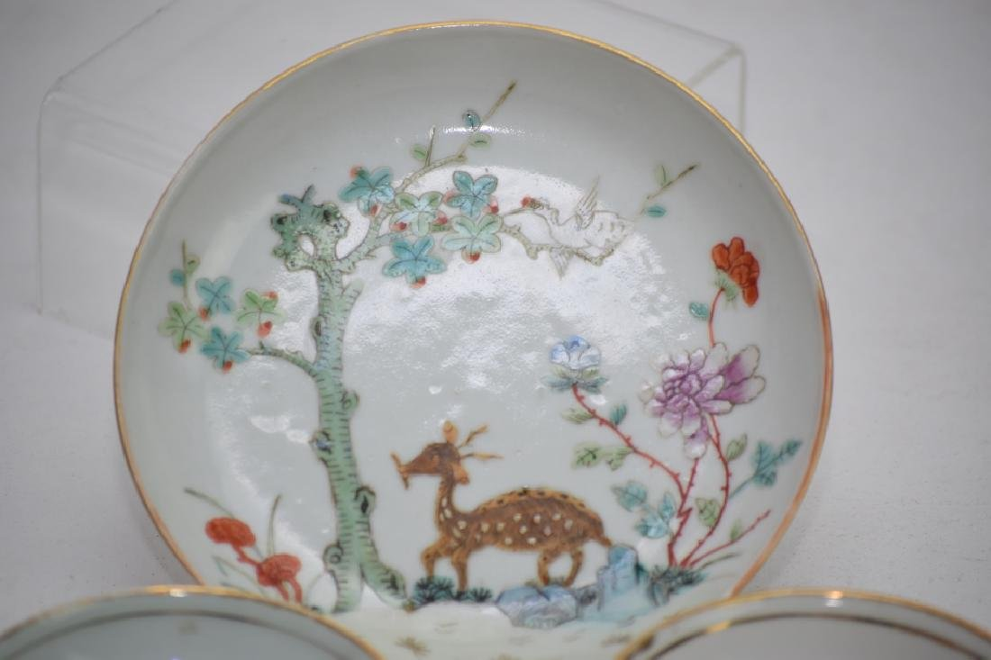 Three Qing Chinese Famille Rose Plates - 2
