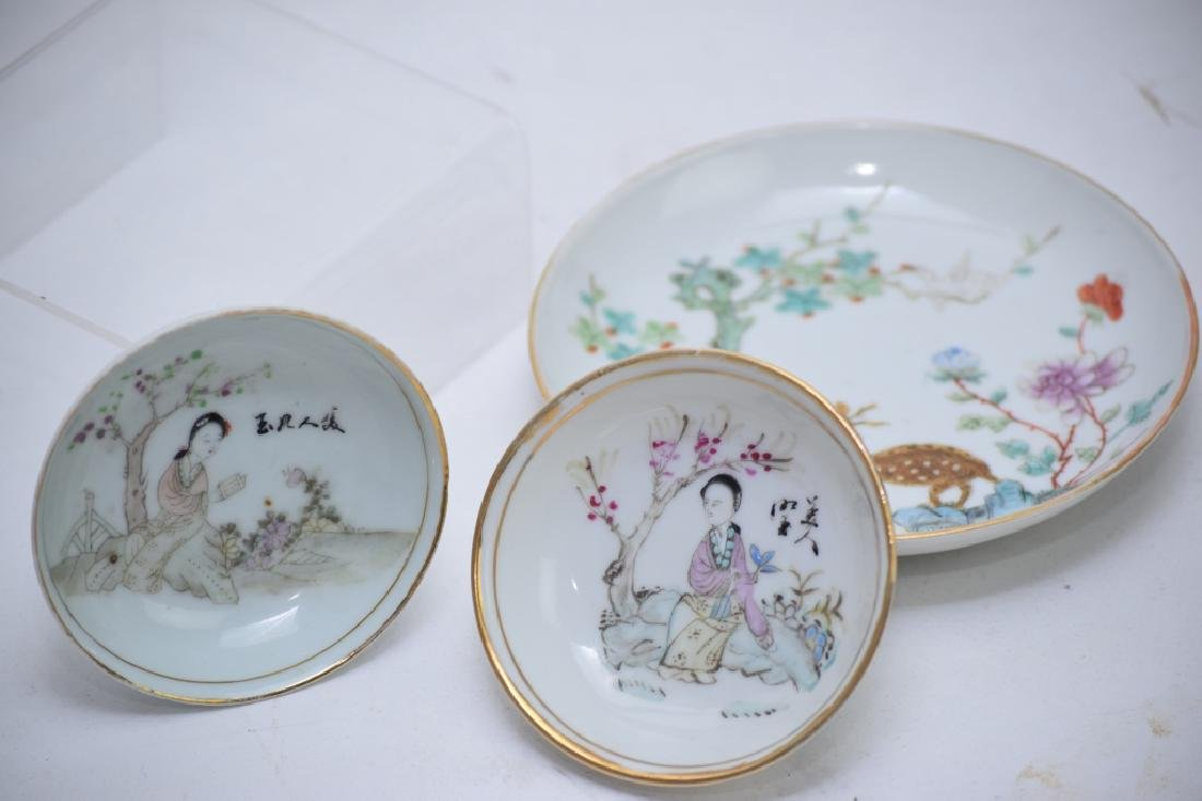 Three Qing Chinese Famille Rose Plates - 3
