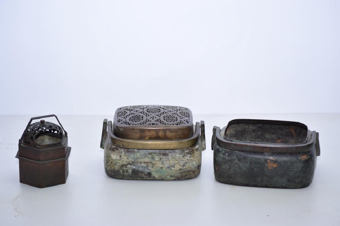 Group of Three Chinese Bronze Hand Warmers