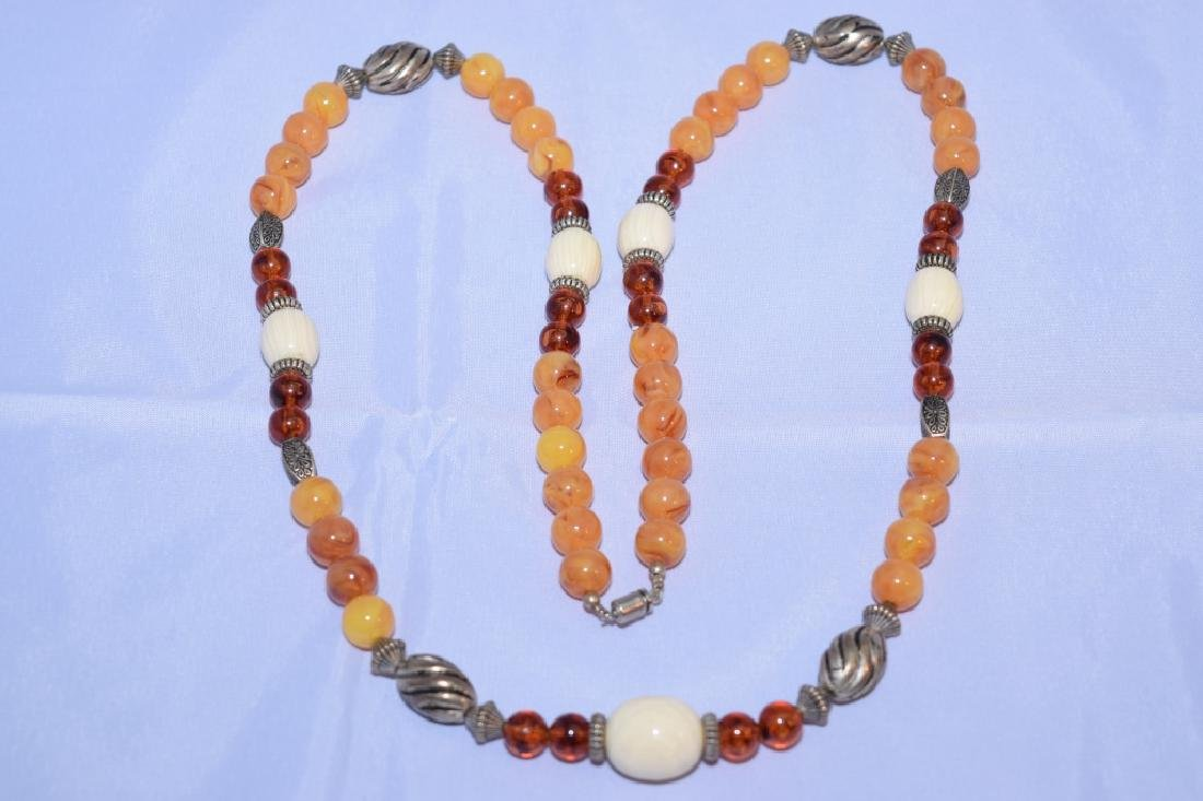 Amber and Silver Necklace