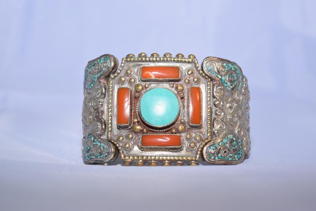 Tibetan Silver Turquoise and Coral Bangle Bracelet