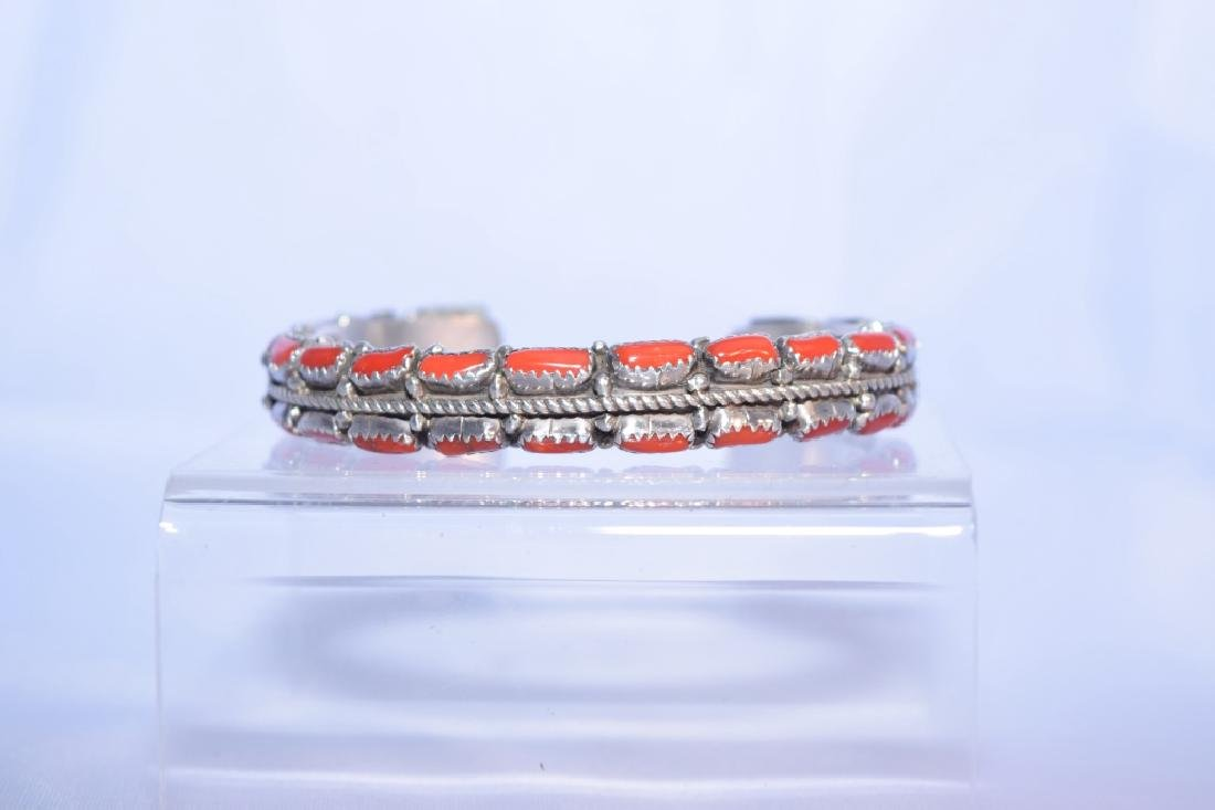 Silver and Coral Bangle Bracelet