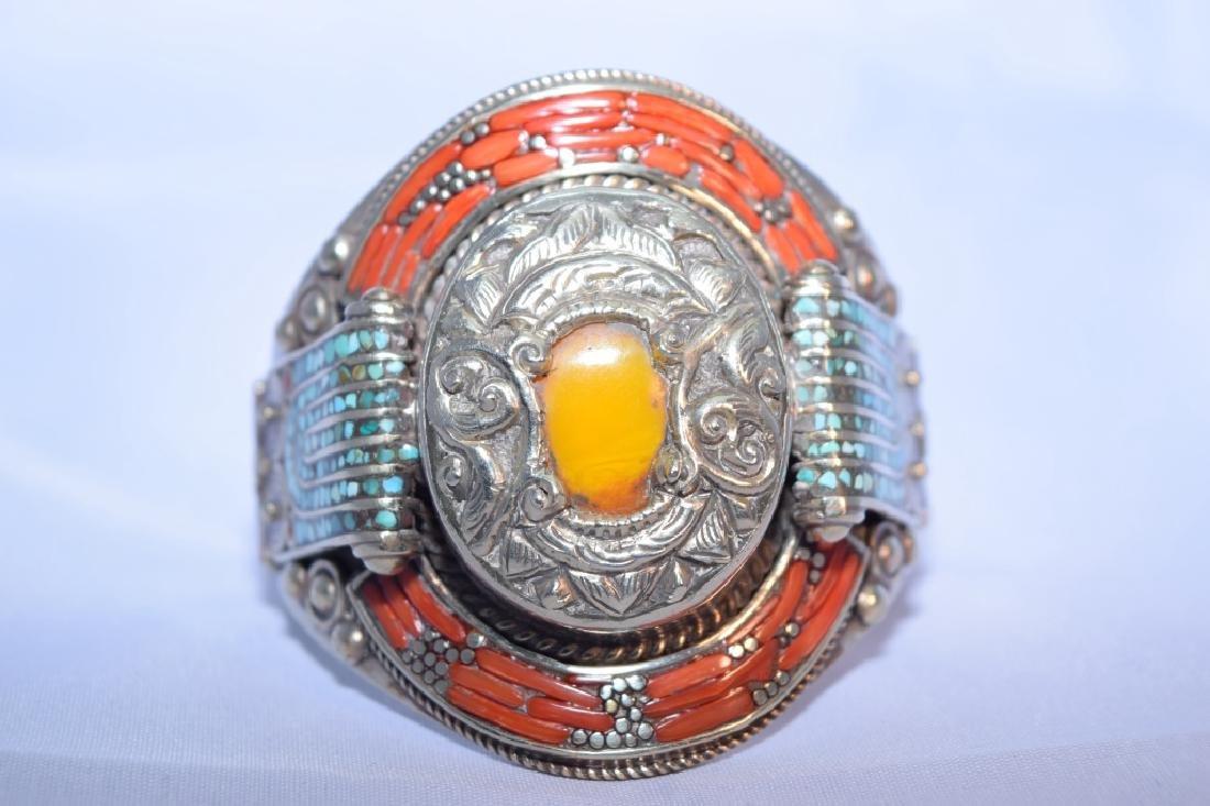 Tibetan Silver Coral and Amber Bangle Bracelet