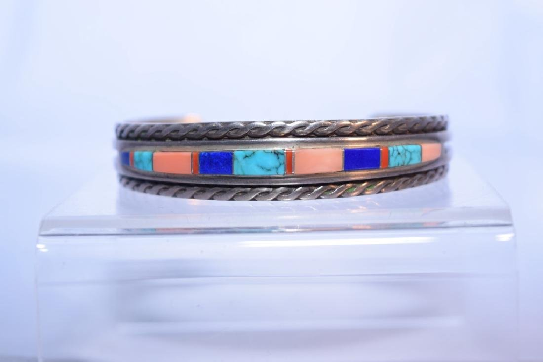 Navajo Silver Turquoise Coral and Lapis Bracelet