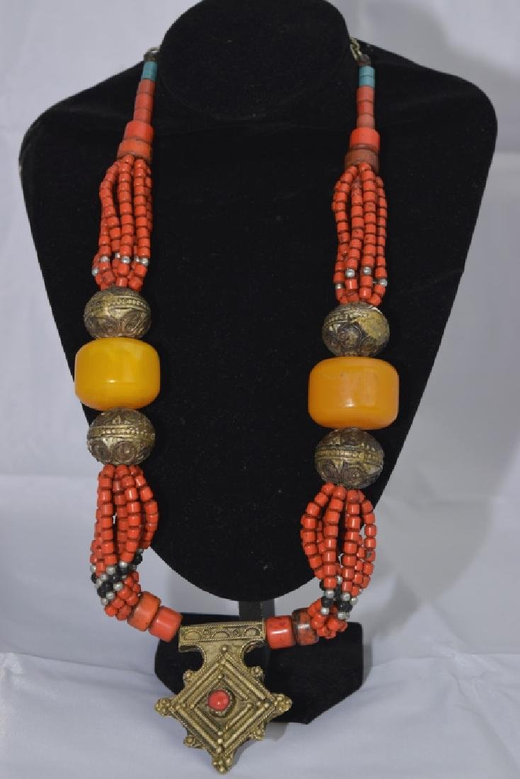 Tibetan Silver and Coral-Color Bead Necklace