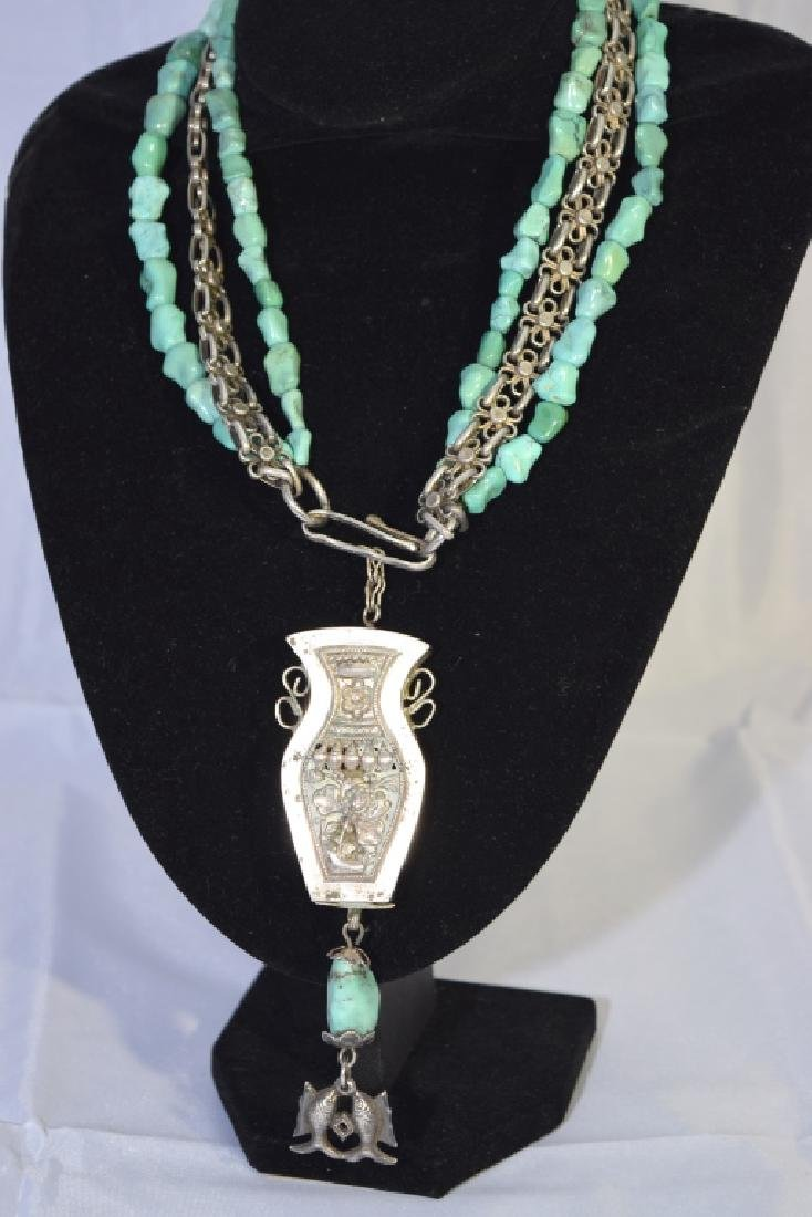 Chinese Silver and Turquoise Necklace